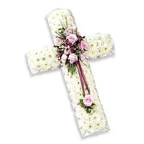 Massed cross with pink spray