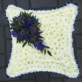 Massed cushion in blue