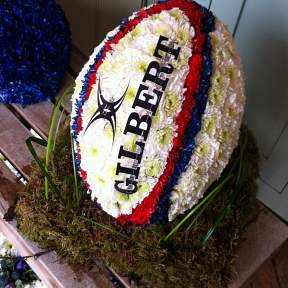 Rugby Ball funeral tribute