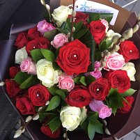 24 Red, Pink And White Roses