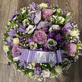 Lilac and purple butterfly posy