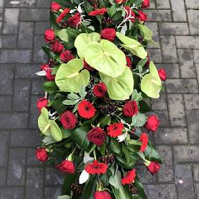 Red Rose and Green Anthurium Spray