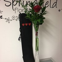 Single Red Rose in a Vase Gift Wrapped